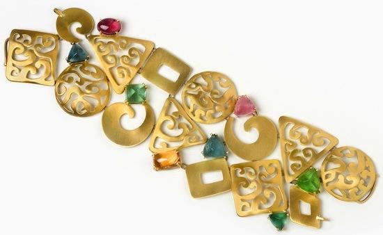 18 Kt Brushed Gold & Tourmaline Bracelet