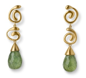 E206_ATT29 - 18 Kt Brushed Gold with Removable 18 Kt Brushed Gold and 30.15 ct Prehnite Drops