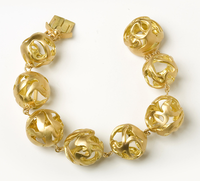Ariane Zurcher Jewelry ~ Juno Collection: 18 Kt Brushed Gold Bracelet With AZ Logo Box Clasp