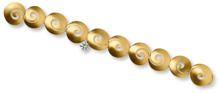 Samadhi/Transitions Collection ~18 Kt Brushed Gold Bracelet with Removable Diamond Adornment