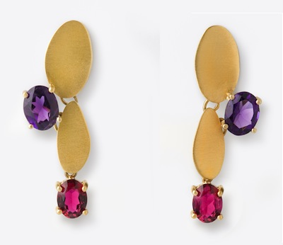 Ariane Zurcher Jewelry - The Lotus Collection - 18 Kt Brushed Gold, Amethyst & Ruby Earrings
