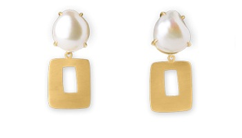 18 Kt Brushed Gold and Baroque Pearl Earrings With Removable 18 Kt Brushed Gold Attachments