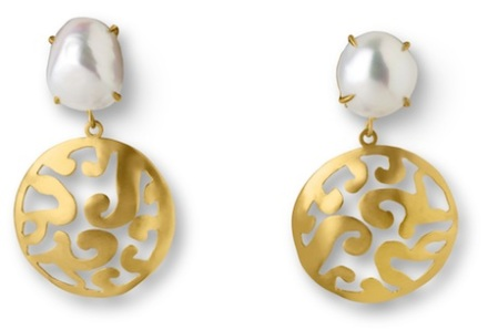 Ariane Zurcher Jewelry ~ Samadhi/Transitions Collection: 18 Kt Gold & Baroque Pearl Earrings with Removable 18 Kt Gold Adornments
