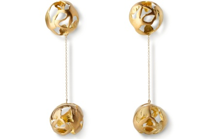 Ariane Zurcher Jewelry ~ Juno/Transitions Collection:  18 Kt Brushed Gold Earrings With Removeable 18 Kt Brushed Gold Ball & Chain