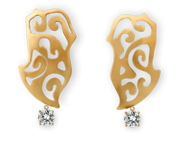 Ariane Zurcher Jewelry - 18 Kt Brushed Gold Earrings With Removeable 18 Kt Gold & Diamond Attachments