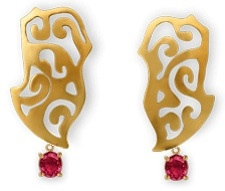 Ariane Zurcher Jewelry - 18 Kt Brushed Gold Earrings With Removable 18 Kt Gold & Red Spinel Attachments