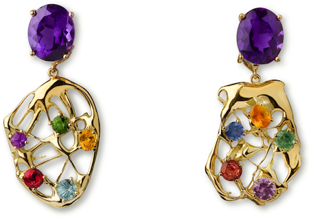 Juno/Transitions Collection~ 18 Kt Gold & Amethyst Earrings With Removable 18 Kt Gold & Sapphire Adornments