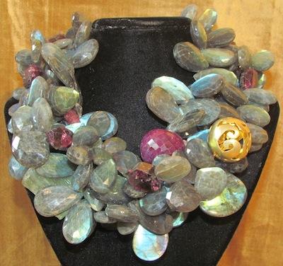 Ariane Zurcher Jewelry ~ Samadhi Collection:  18 Kt Brushed Gold, Labradorite, Pink Tourmaline, Moss Aquamarine, Ruby, Green Aquamarine