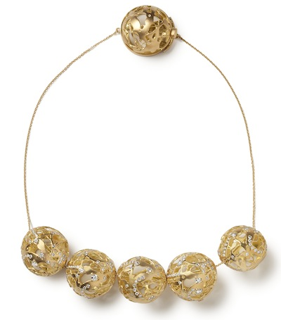 Ariane Zurcher Jewelry ~ Juno Collection: 18 Kt Brushed Gold Orbs Strung on 22 Kt Gold Chain With 18 Kt Brushed Gold AZ Logo Box Clasp