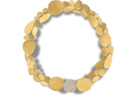 Ariane Zurcher Jewelry ~ Lotus/Transitions Collection: 18 Kt Brushed Gold Necklace with Removable Diamond Pave Clasp