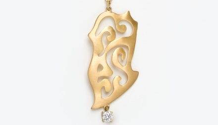 Ariane Zurcher Jewelry  ~ Samadhi Collection: 18 Kt Brushed Gold & Diamond Pendant on 18 Kt Gold Chain