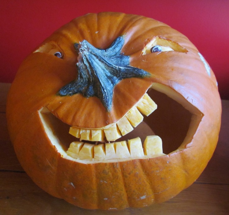 Grinning Pumpkin ~ Carved by Richard Long